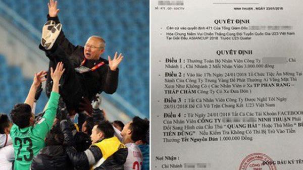 Sếp của năm: Thưởng mỗi nhân viên 3 triệu đồng, cho nghỉ luôn để cổ vũ chung kết, nếu U23 vô địch, thưởng tiếp mỗi nhân viên 3 tháng lương