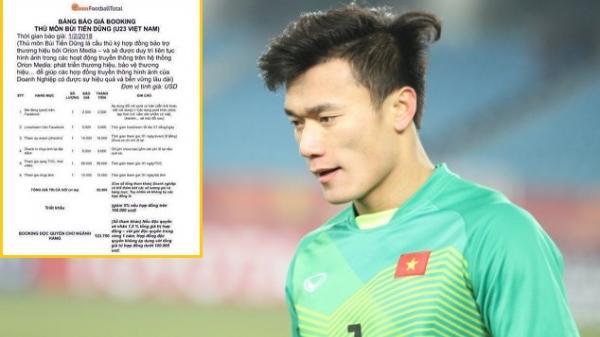 Sau giải U23 châu Á, một status quảng cáo của thủ môn Tiến Dũng giá 2.500 USD?