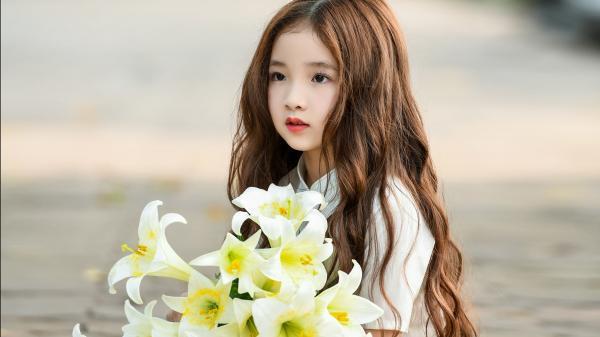 """""""Đốn tim"""" với bộ ảnh bé gái bên hoa loa kèn trên phố đi bộ Hồ Gươm"""