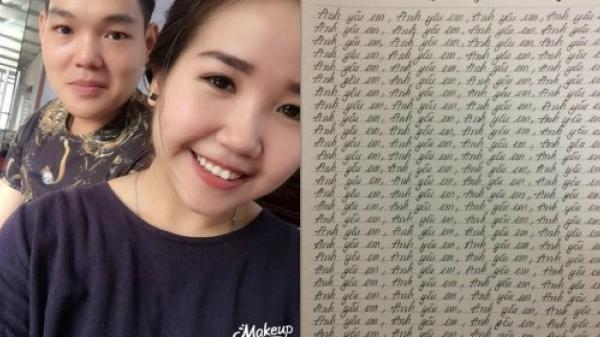 """Chàng trai bị phạt viết 1000 lần câu """"Anh yêu em"""" vì ngủ quên không chúc mừng sinh nhật bạn gái"""