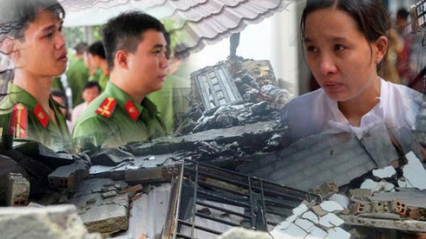 Thượng úy hi sinh khi chữa cháy, vợ mang bầu 8 tháng cố đứng vững ở đám tang