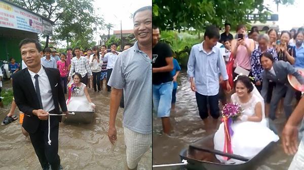 Dân làng hò reo trước màn lội nước, kéo xuồng rước dâu vì đường ngập lụt