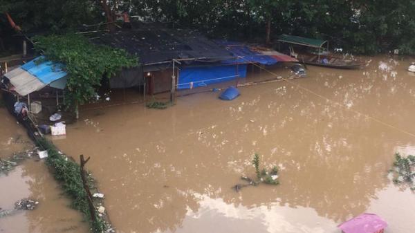 Nước sông Hồng dâng cao, nhiều hoa màu cùng nhà dân bị ngập, tàu thuyền không thể di chuyển qua cầu Long Biên