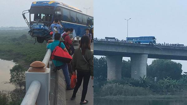 """CLIP KINH HOÀNG: Xe khách tuyến Hải Phòng – Hà Nội """"treo"""" chênh vênh trên thành cầu qua sông Hồng sau tai nạn"""
