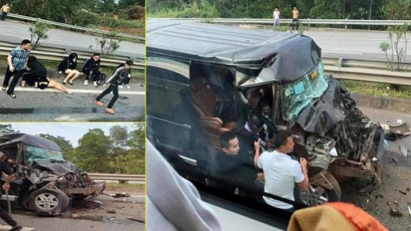 VỪA CHIỀU NAY: Xe Limousine tông đuôi ô tô đầu kéo trên cao tốc Nội Bài - Lào Cai, 8 người bị thương