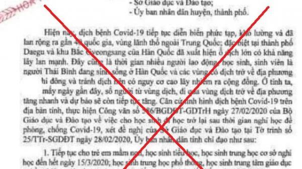 Hải Dương: Làm giả công văn của tỉnh Hải Dương cho học sinh nghỉ học