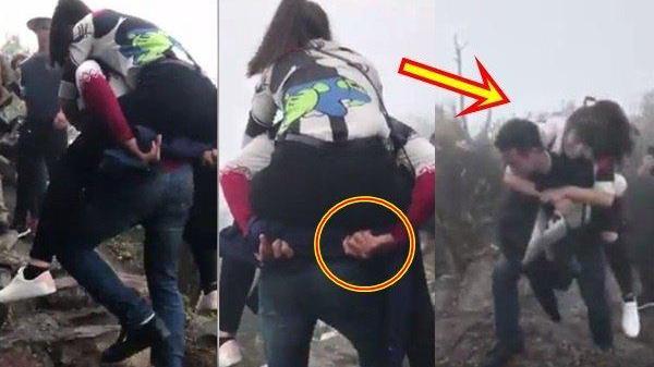 Clip 'soái ca' vừa leo núi vừa cõng bạn gái lên đỉnh Yên Tử khiến dân mạng tranh cãi dữ dội