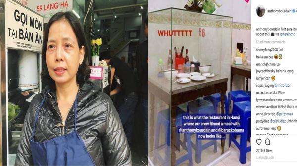 """Chủ quán """"bún chả Obama"""" lên tiếng sau phản ứng của đầu bếp Anthony Bourdain về chiếc bàn được cho vào lồng kính"""