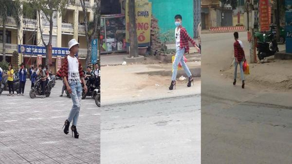 Thanh niên đi giày cao gót tự tin sải bước trên đường bỗng nhiên nổi tiếng trên MXH