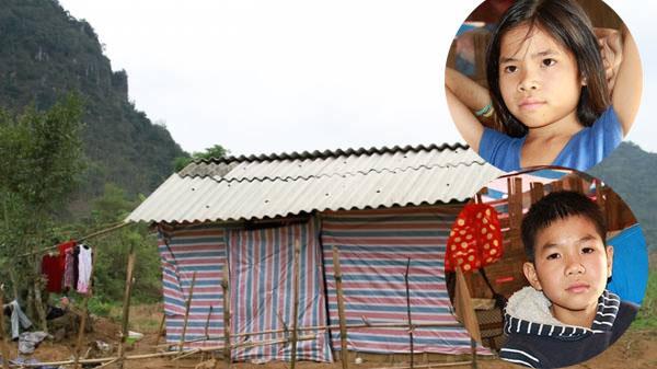 Xót xa ba cháu nhỏ sống trong túp lều rách giữa đồng ở Hòa Bình