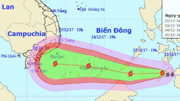 [CẬP NHẬT]: Đêm nay, bão Tembin mạnh cấp 14 vào biển Đông