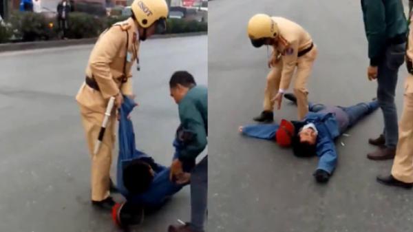 Vượt đèn đỏ xin tha không được, lăn ra đường ăn vạ và tố CSGT Hưng Yên 'giết người'