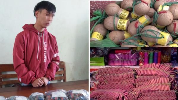 Phát hiện, tạm giữ tài xế xe tải mang BKS Hưng Yên chở hơn 1,5 tấn pháo hoa