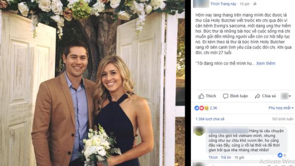Lời nhắn nhủ của cô gái 27 tuổi qua đời vì ung thư làm dậy sóng MXH: Hãy bỏ điện thoại xuống!