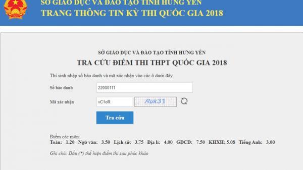 Hưng Yên công bố điểm thi THPT quốc gia 2018