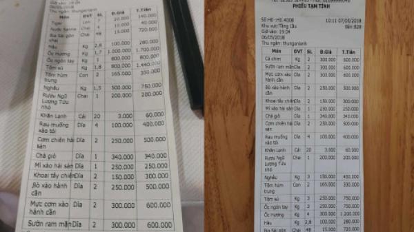 Xuất hiện hóa đơn của quán hải sản chặt chém du khách dẫn đến xô xát tại nhà hàng ở Nha Trang