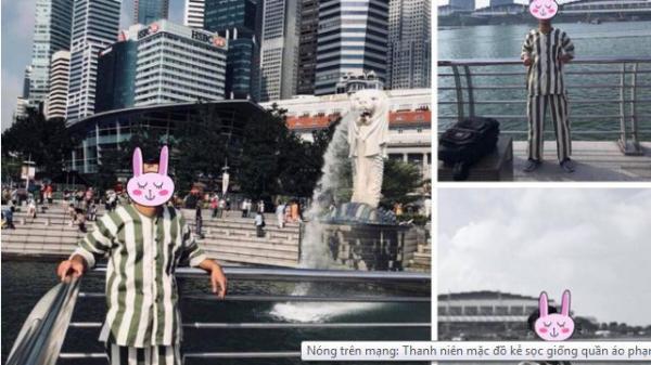 Nóng trên mạng: Thanh niên mặc đồ kẻ sọc giống quần áo phạm nhân check-in ở Singapore khiến dân tình xôn xao