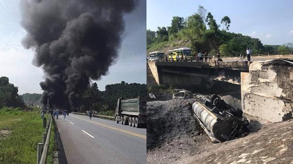 Kinh hoàng: Tông thẳng xe con, xe bồn lao xuống vực nổ như bom