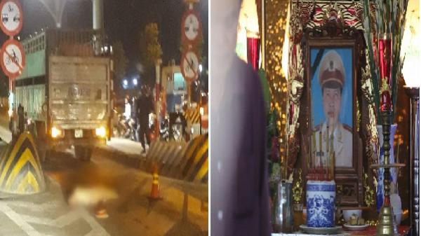 Cảnh sát giao thông bị xe tải cán qua người: Con gái nhỏ ngơ ngác tìm bố tại đám tang