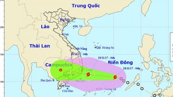 Áp thấp nhiệt đới đã mạnh lên thành bão, cơn bão số 14