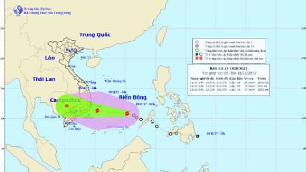 Từ sáng đến trưa mai (19/11) bão số 14 sẽ đổ bộ vào đất liền