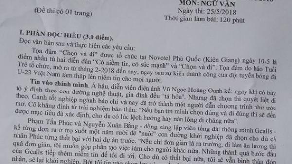 Gợi ý giải chi tiết đề thi thử môn Ngữ văn THPT quốc gia Sở GD&ĐT Kiên Giang