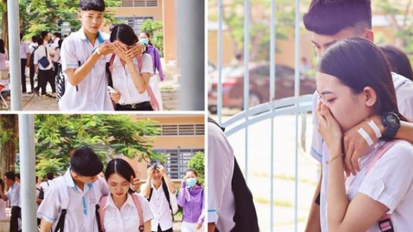 Kiên Giang: Khoảnh khắc nam sinh ôm vỗ về, động viên nữ sinh bật khóc sau buổi thi Ngữ văn gây bão MXH