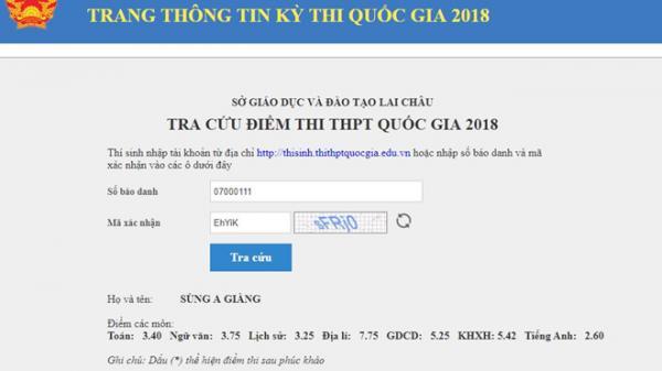 Tra cứu điểm thi THPT quốc gia 2018 tỉnh Lai Châu