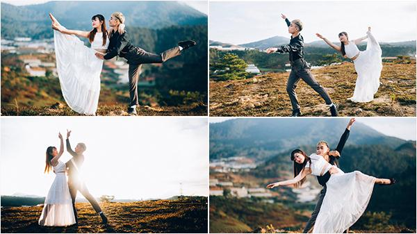 Cặp bạn thân đưa nhau đi chụp bộ ảnh nhảy múa ngọt ngào trên ngọn đồi Thiên Phúc ở Đà Lạt