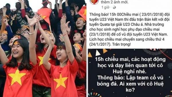 Nhiều nơi đồng loạt cho nhân viên, học sinh nghỉ học, nghỉ làm cổ vũ U23 Việt Nam trận bán kết