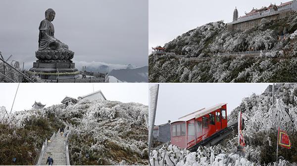 HOT: Ngắm loạt ảnh băng tuyết tháng tư bất ngờ phủ trắng Đại tượng Phật lớn nhất Việt Nam trên đỉnh Fansipan