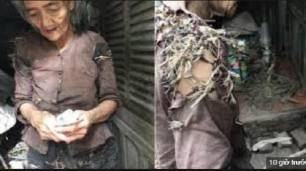 """Xót xa """"bà cụ sống trong vườn nhà hàng xóm, quần áo rách phải vá bằng rơm rạ"""" đang lan truyền một cách dữ dội trên MXH"""
