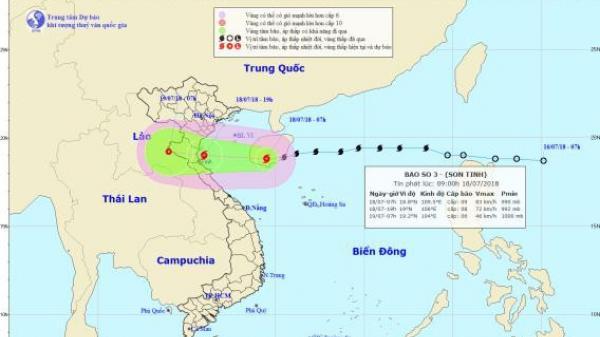 NÓNG: Chiều tối nay, bão Sơn Tinh tăng cấp, tấn công đồng bằng Bắc Bộ