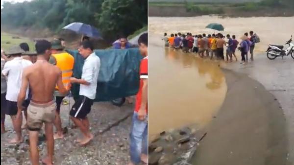 Phú Thọ: Người dân làm cáng tre đưa Bí thư Đảng ủy xã vượt dòng lũ đi cấp cứu