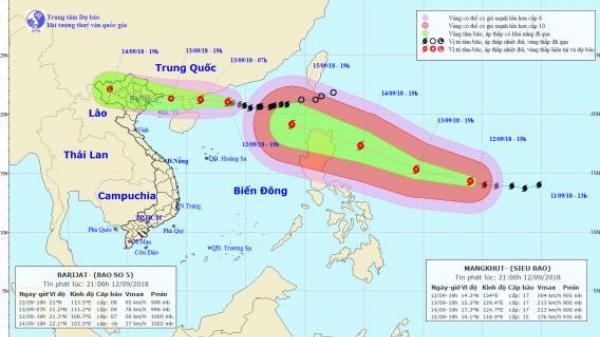 Chiều tối nay, bão số 5 đổ bộ vào miền Bắc, siêu bão MANGKHUT di chuyển nhanh về Biển Đông, Bắc Bộ hứng mưa CỰC LỚN