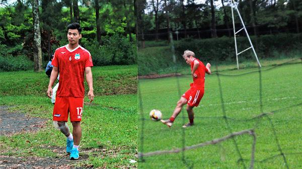 Văn Thanh tập riêng vì chấn thương, Văn Toàn miệt mài tập sút penalty trước trận gặp Hà Nội