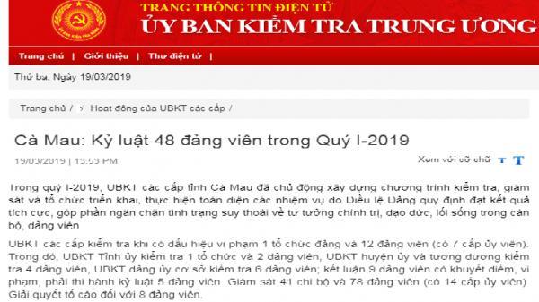 Cà Mau: K.ỷ luật 48 đảng viên trong Quý I-2019