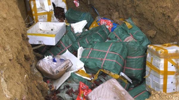 Lào Cai tiêu hủy 300 kg tôm hùm đất và hơn 1 tấn chân gà không rõ nguồn gốc