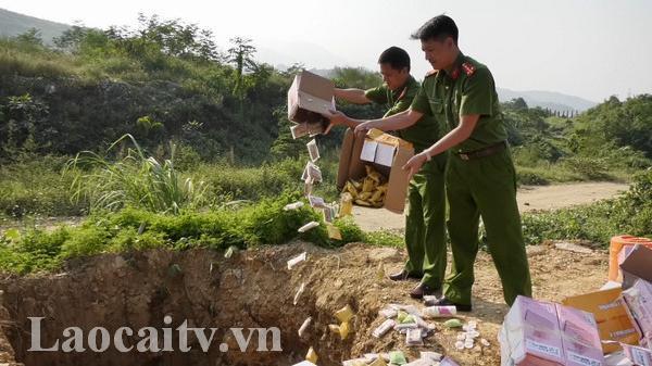 Lào Cai: Tiêu hủy gần 5.000 sản phẩm không rõ nguồn gốc