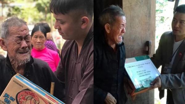 Xúc động khoảnh khắc cụ ông nghèo ôm chặt thùng mỳ tôm từ thiện, rơi nước mắt vì quá hạnh phúc
