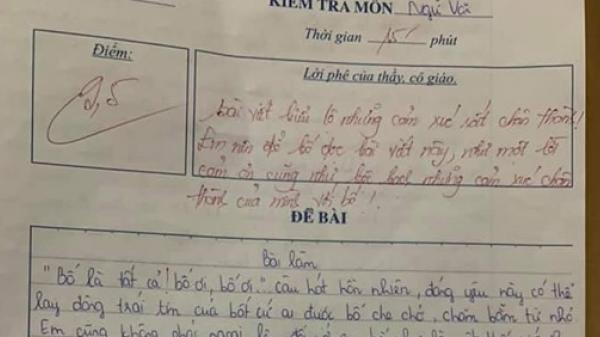 Bài văn tả bố được cô giáo chấm ngay 9,5 điểm khiến cộng đồng mạng phát khóc