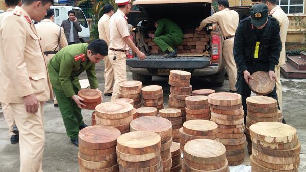 Bắt giữ đối tượng vận chuyển thớt nghiến qua địa phận Văn Bàn (Lào Cai)