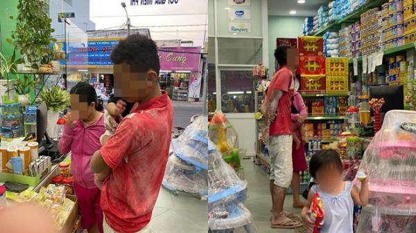 Ông bố người lấm bẩn đưa hai con vào cửa hàng sữa và câu chuyện nhỏ gây xúc động