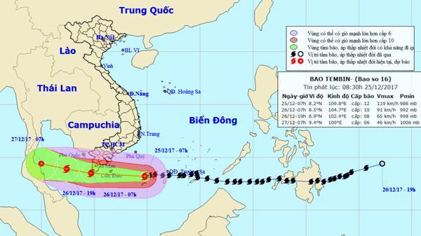 Bão Tembin uy hiếp Nam bộ với cấp thảm họa