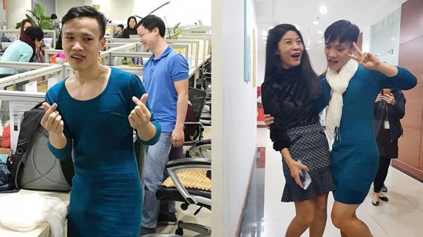 Việt Nam nói là làm: Nam thanh niên giữ đúng lời hứa mặc váy đi làm gây náo loạn công ty