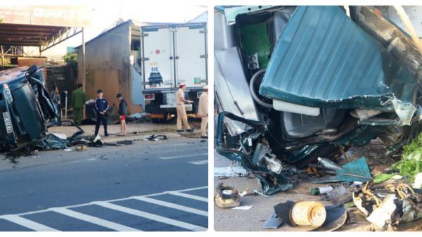 Hai xe tải đối đầu, 1 phụ nữ mang thai 8 tháng văng ra khỏi cabin