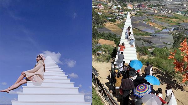 'Cầu thang vô cực' ở Đà Lạt: Lên hình ảo bao nhiêu, ngoài đời phải chen lấn chụp ảnh mệt bấy nhiêu