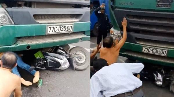 Người dân la hét, cản xe tải cán cô gái dừng đèn đỏ ở Khánh Hòa