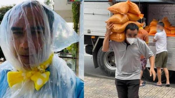 Quyền Linh khiến fan xót xa khi lấy túi ni lông đội đầu để phòng dịch vì không kịp chuẩn bị đồ bảo hộ