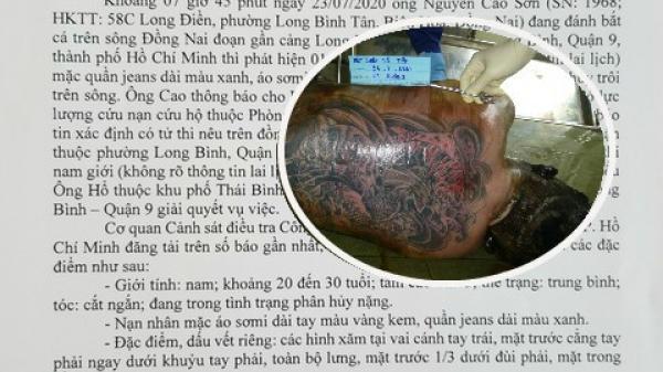 Tìm thân nhân thanh niên có hình xăm kín lưng chết trôi sông Đồng Nai